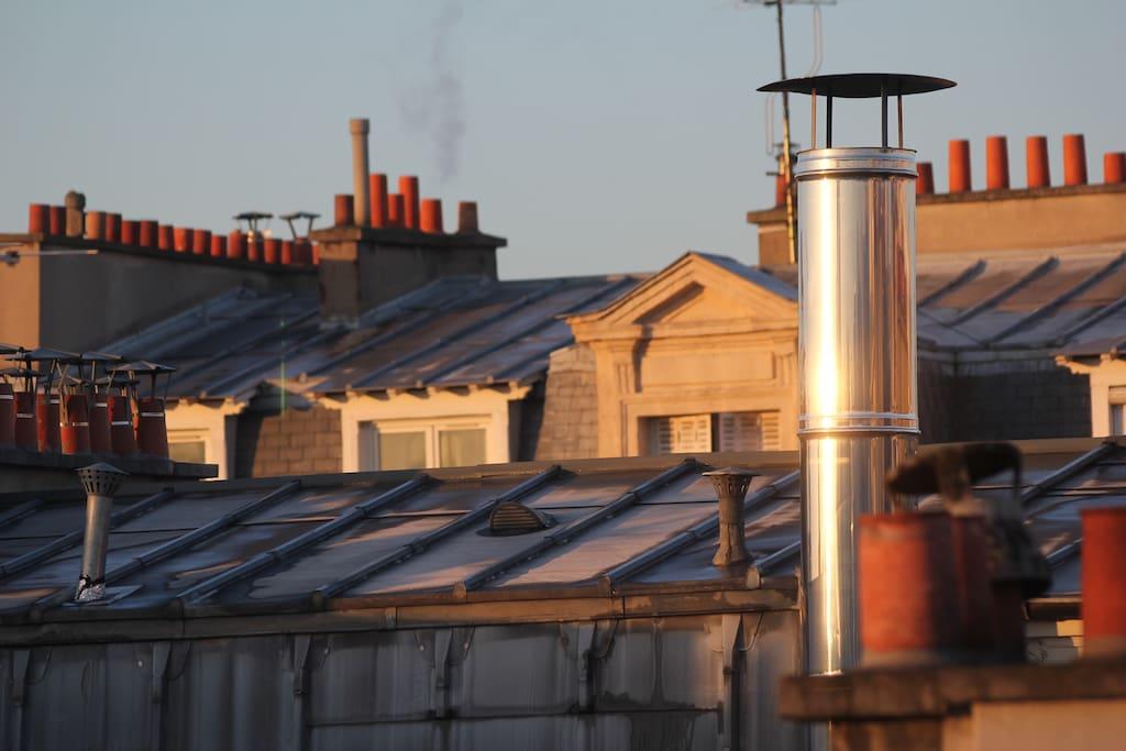 vue sur les toits de de la chambre
