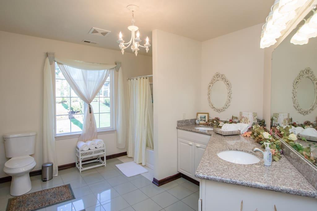 Spacious private bathroom