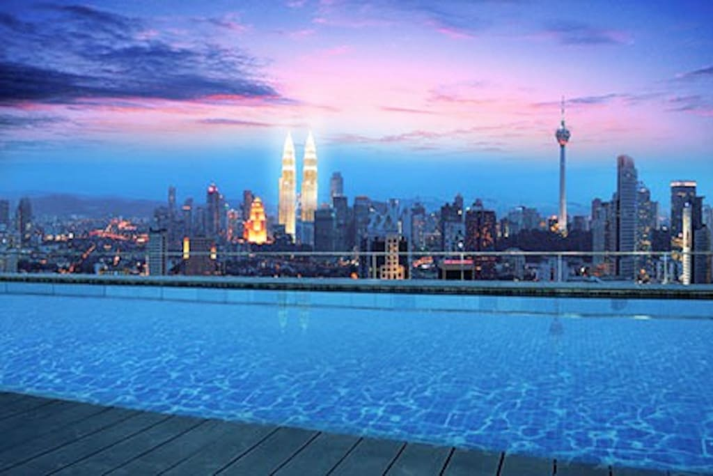 6 rooftop infinity pool kl view apartments for rent in - Rooftop swimming pool kuala lumpur ...