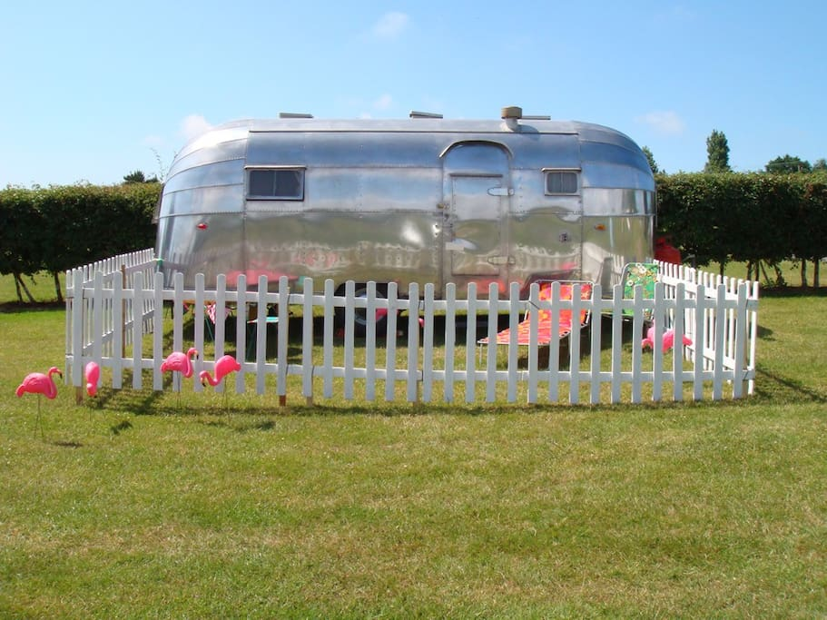 1954 Safari Airstream at another location styled for a wedding