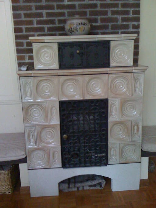 Woodstove in living room.