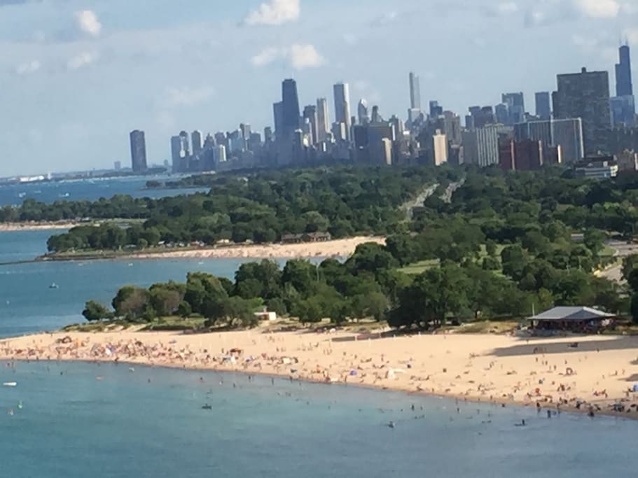 Visiting Chicago in the summer means biking, swimming and hiking on the lakefront...a view from the balcony.
