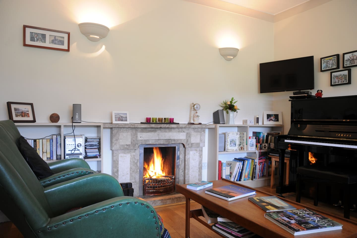 Open fire in guests' sitting room