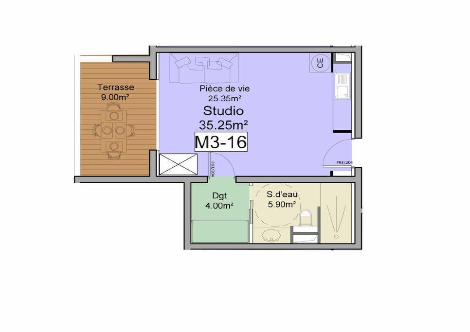 40 m2 habitable et 9 m2 de balcon