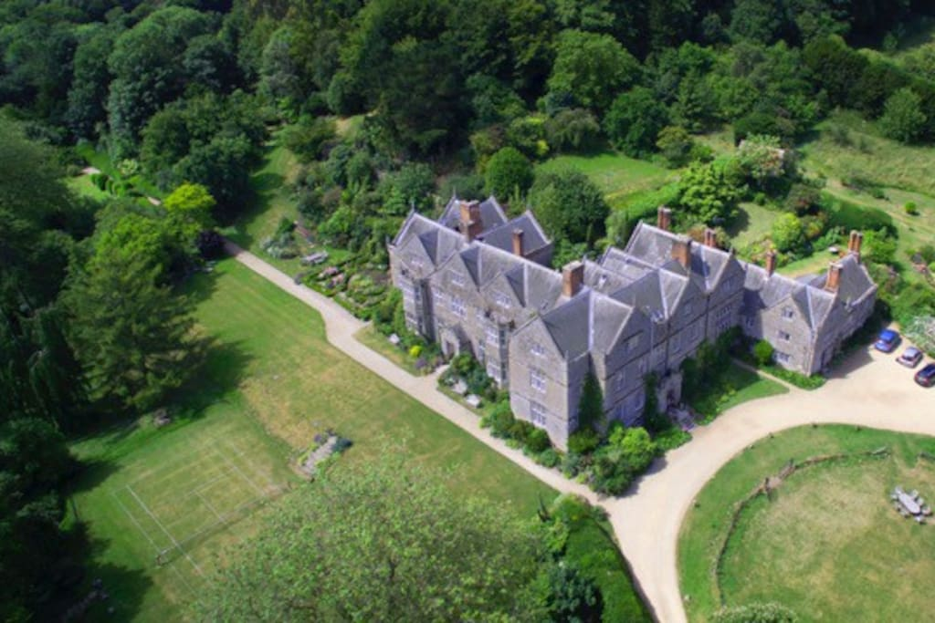 Northcourt from the air set in 15 acres of glorious gardens