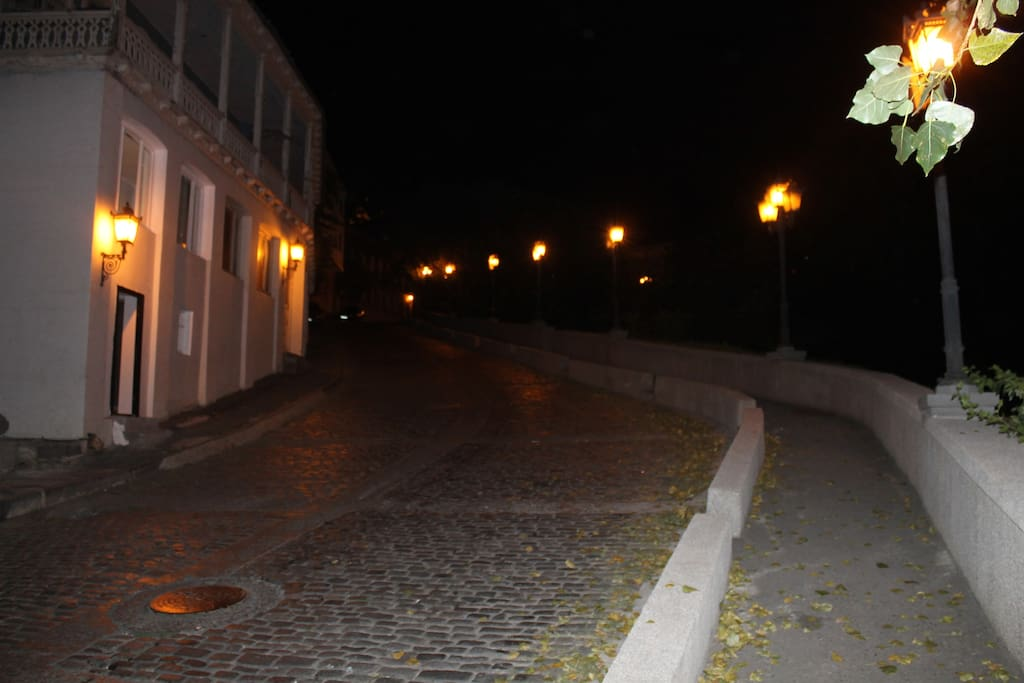 Street view of the cobblestone street at night
