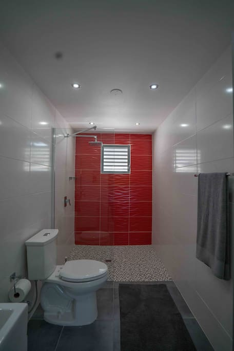 Bold use of red for pure drama, modern and sleek.