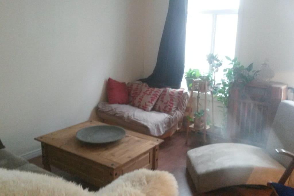 Accès au salon, selon notre entente et vos besoins, possibilité d'y accueillir deux personnes supplémentaire sur le divan et le petit futon.