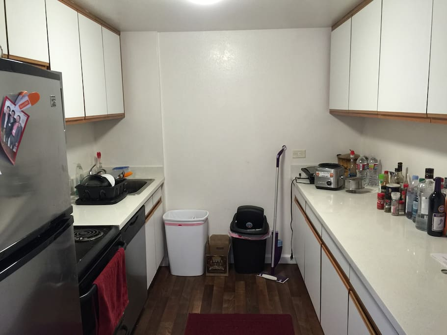 The kitchen has ample counter room and full stove/oven. We have all the pots and pans you might need, a dishwasher, and cooking oil/salt/pepper.