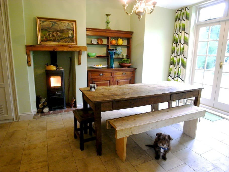Kitchen table, stove and dresser (dog not included)