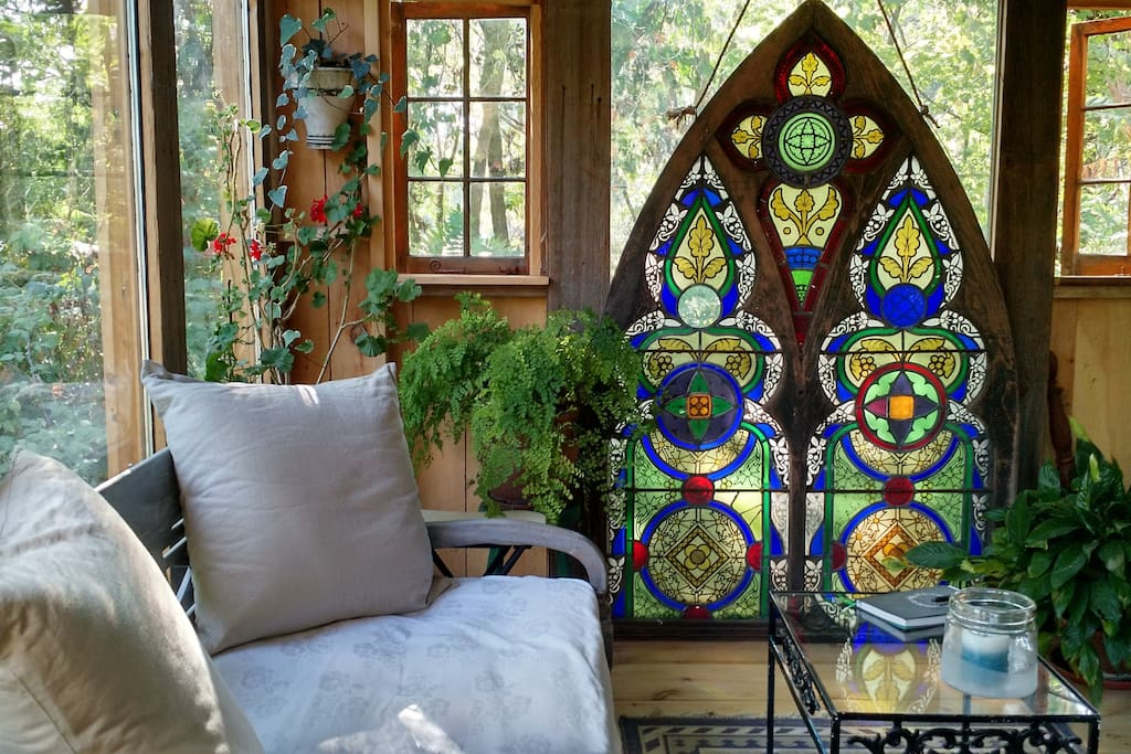 Beautiful antique stained glass windows, colors are gorgeous!