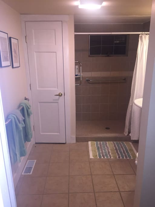 Large bathroom with oversize shower.