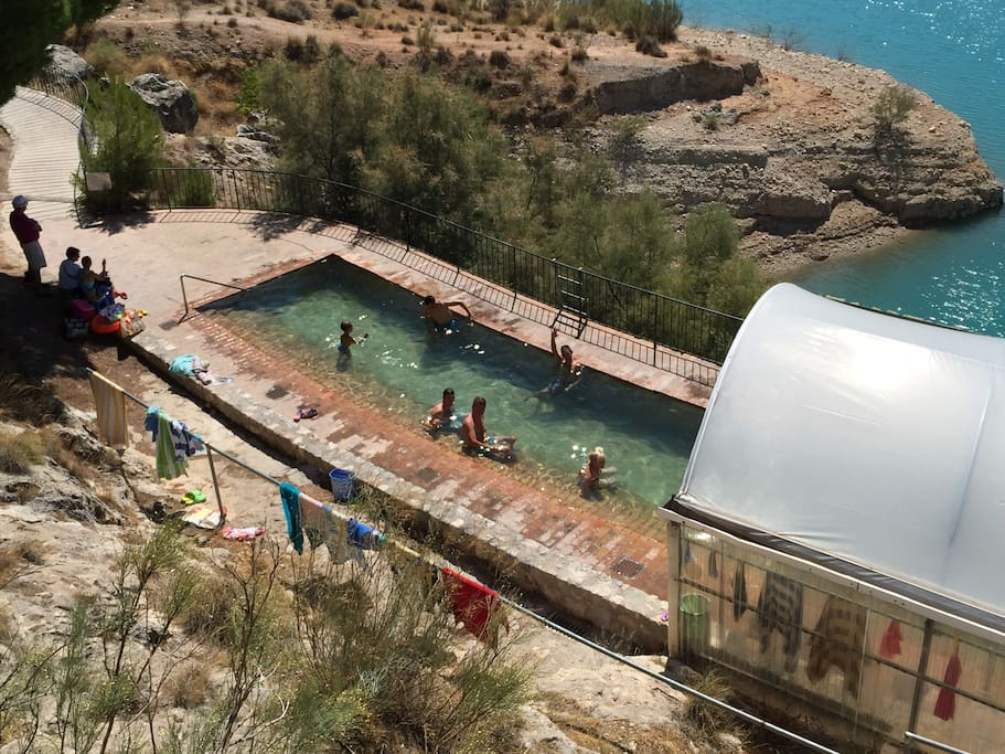 Immerse yourself in the geo-thermal baths at lake Negratin.