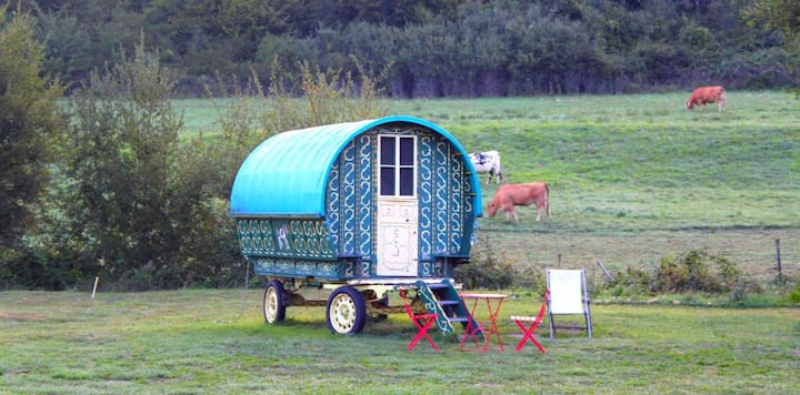Traditional gypsy caravan in Dordogne