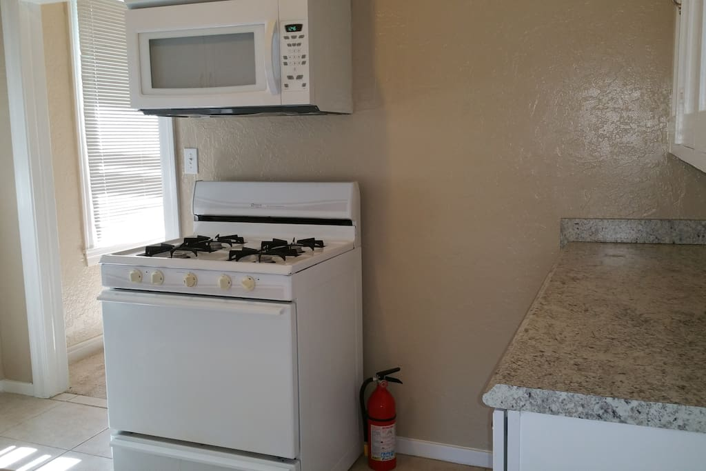 Gas stove and oven.  New microwave.