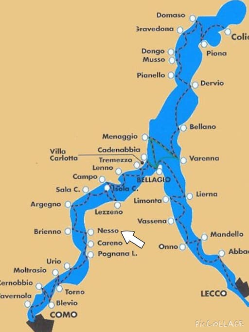 Location of Nesso - half way between Como and Bellagio