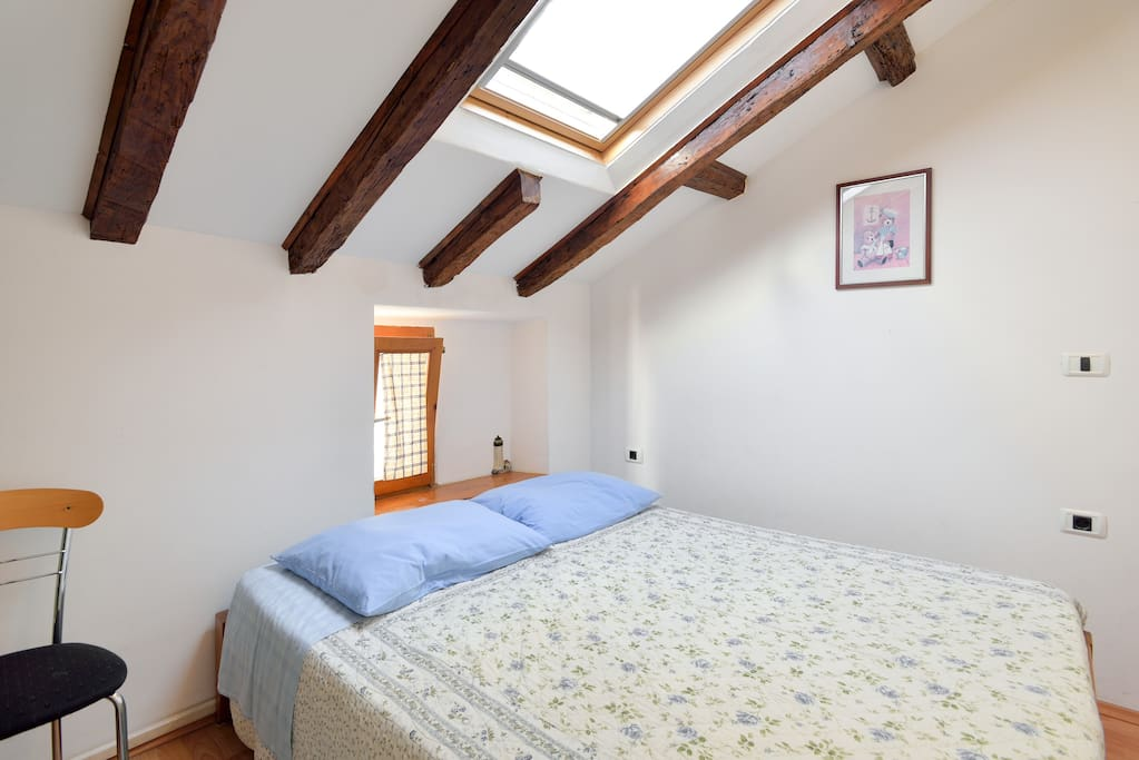 large double bed in separate room
