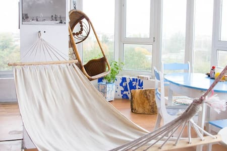 5 things must-do in our flat: - to fall of the hammock     - to have coffee with sea-view           - to watch the sunrise from the sea            - to enjoy a glass of wine watching sunset - to make a photo sitting under our retro hair-dryer