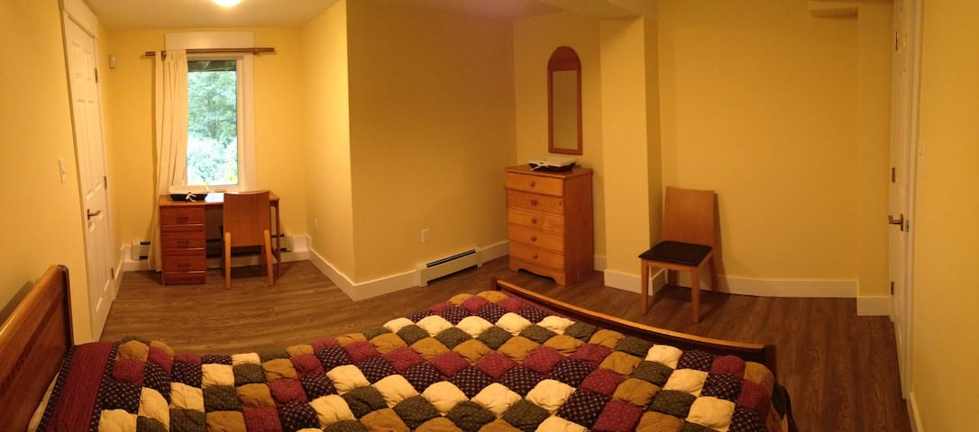 Spacious bedroom - lots of room for the bed, dresser, and desk