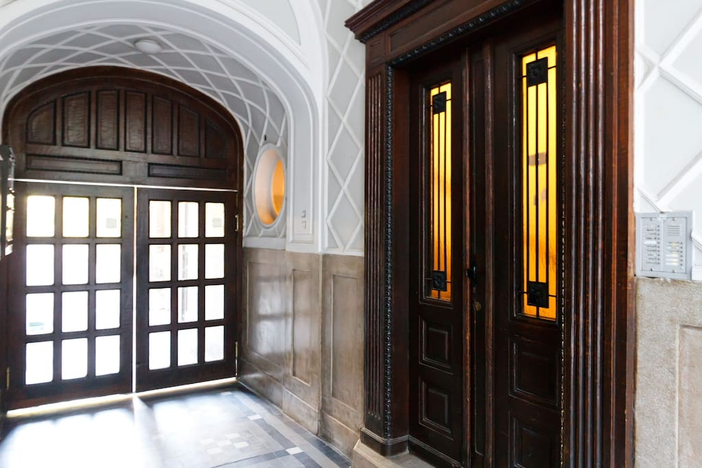 Inside the building, entrance hall.