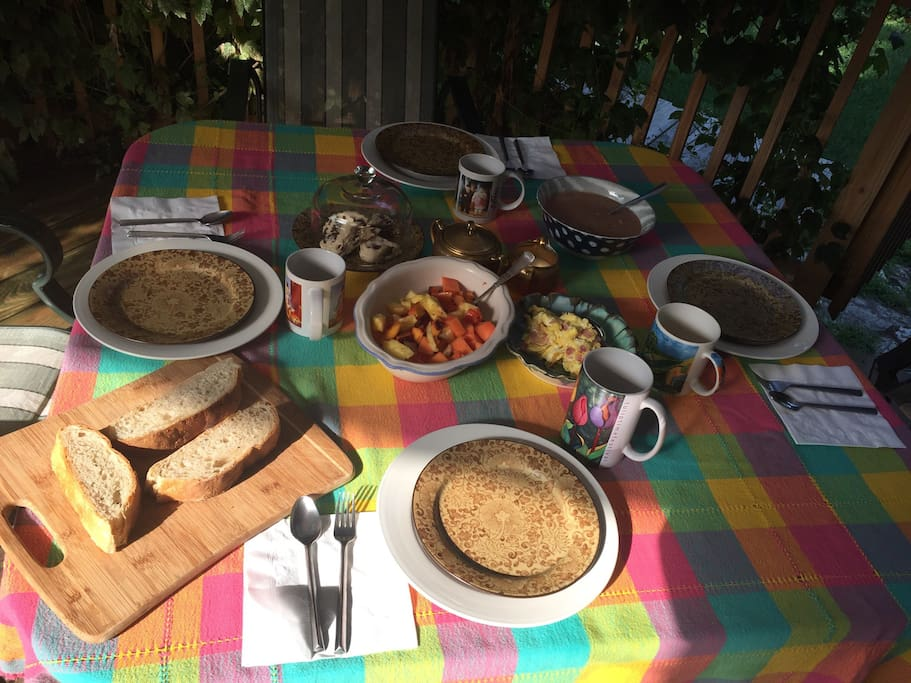 The perfect spot for the perfect breakfast! Homemade Bread, fresh fruit salad, eggs any style and also homemade side dish. Coffee or Tea. (And a sweet surprise)