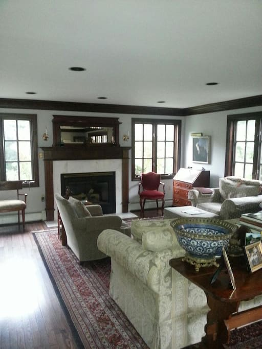 spacious living room with great natural lighting and fireplace