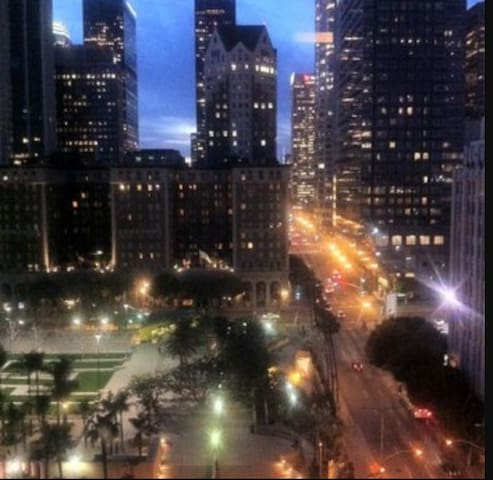 Nighttime view of Pershing Square from rooftop