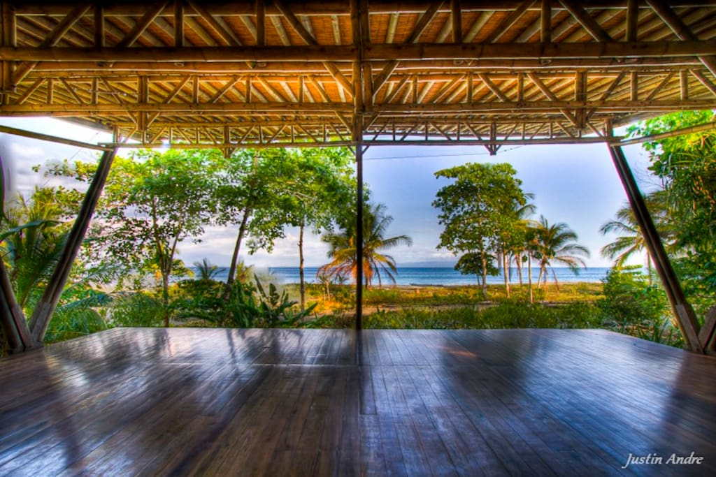 Iguana Lodge's beach front yoga deck available to anyone who stays at Costa Rican Beach House