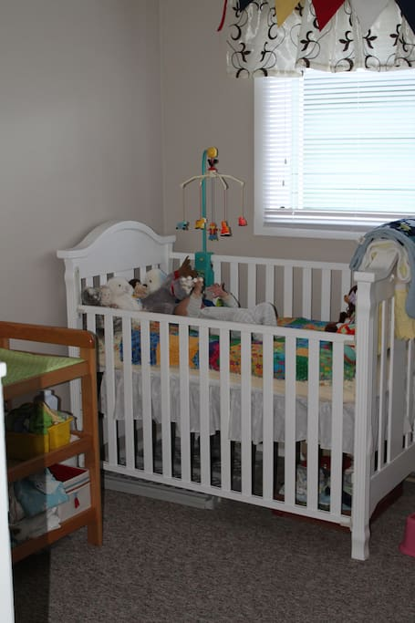Crib available for baby (change table in the room).