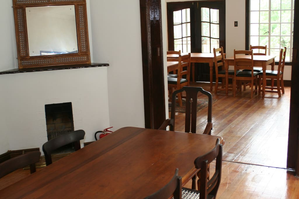 Old style wooden floors in the restaurant