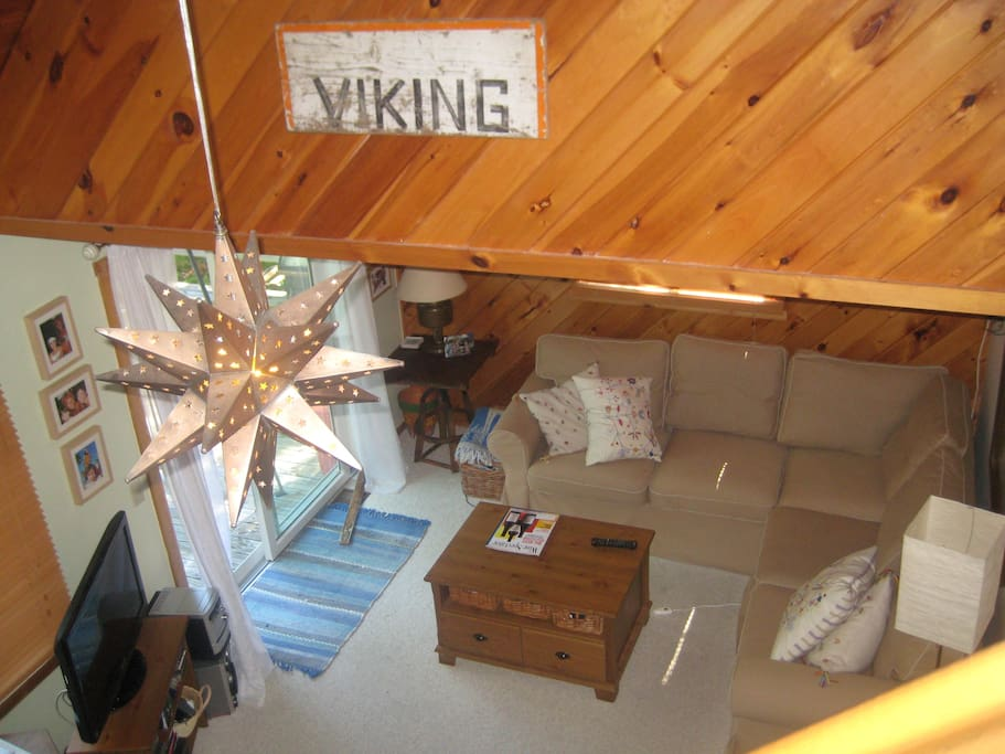 A view of the living room from the loft
