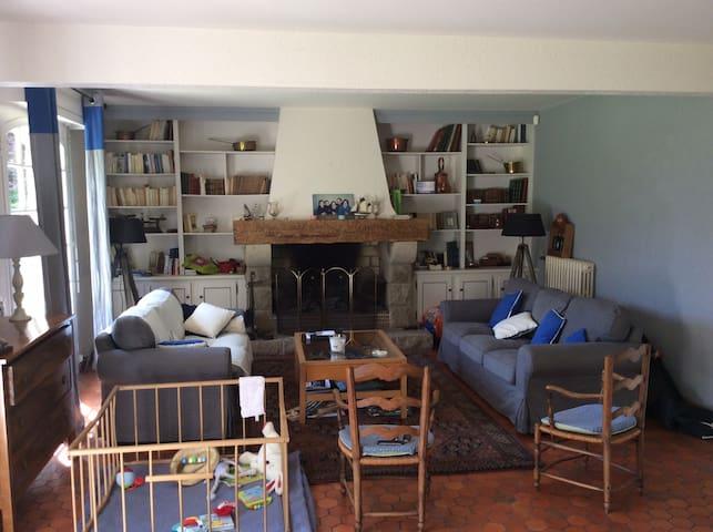 Salon, ouvert sur salle à manger. 2 canapés ( 3 places et 2 places), fauteuils.  Grande cheminée