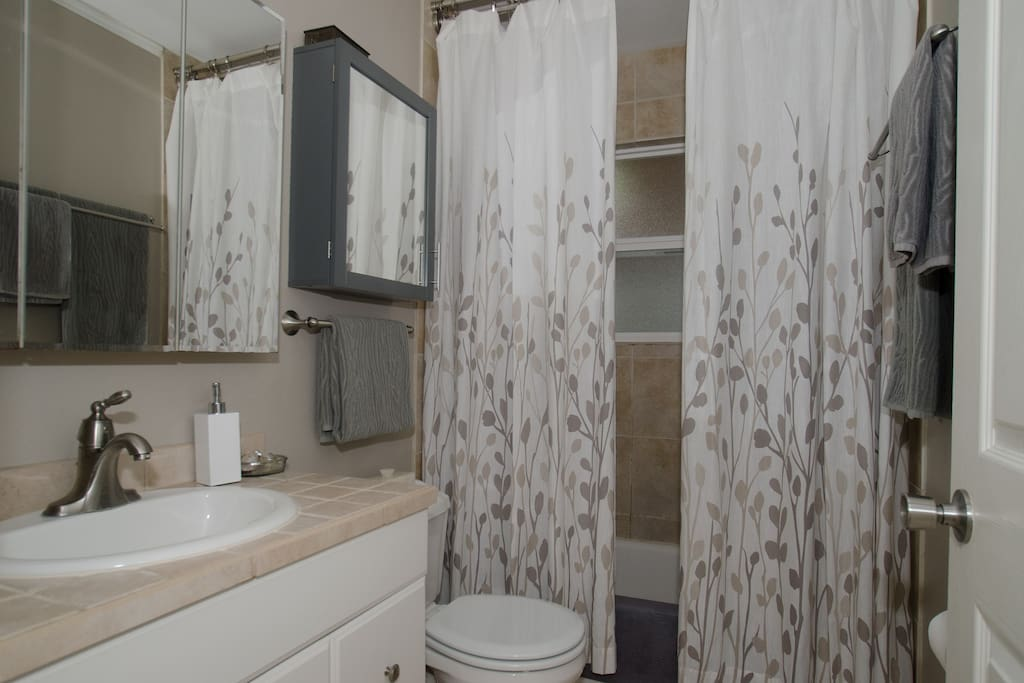 Shared bathroom is kept tidy and clean.
