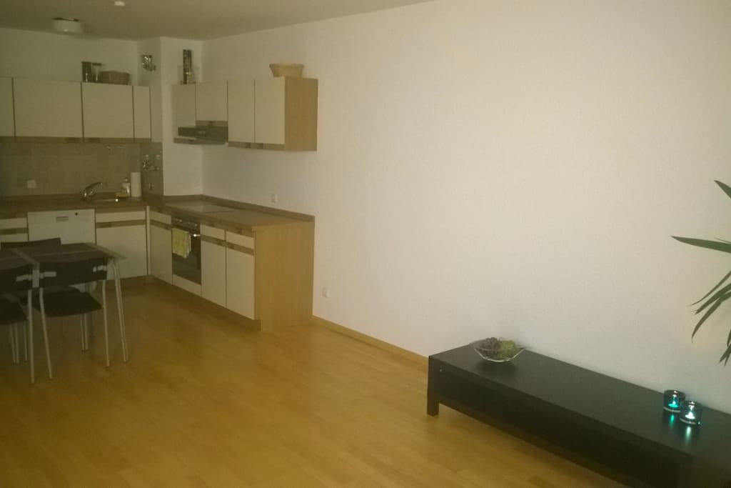 Living Room with open kitchen, table for 4 People, water heater and fridge.