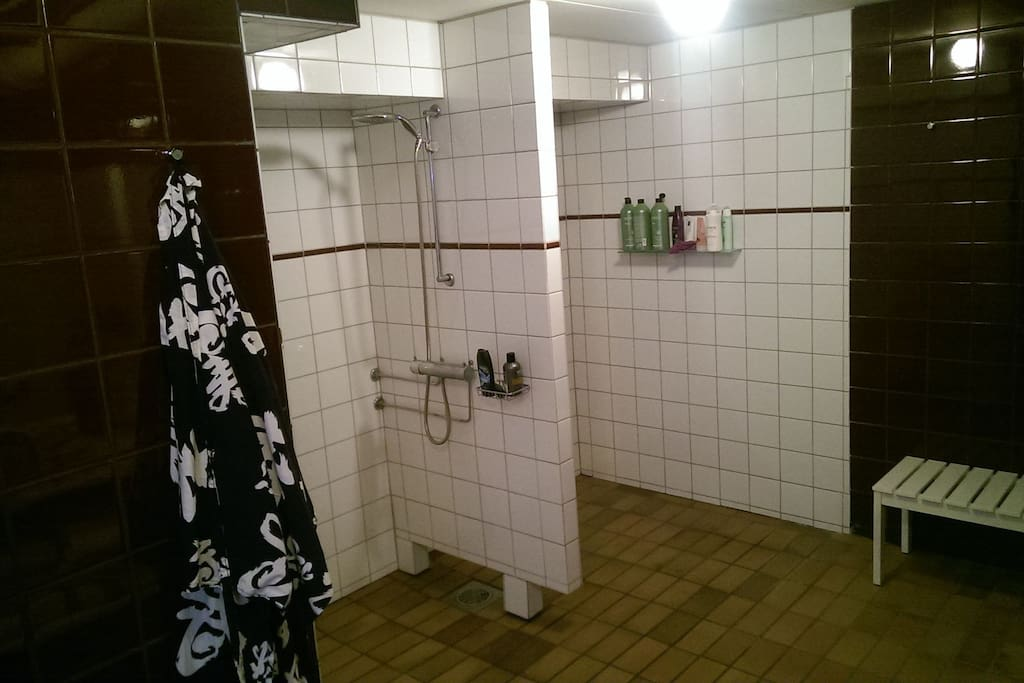Bathroom with two seperate showers