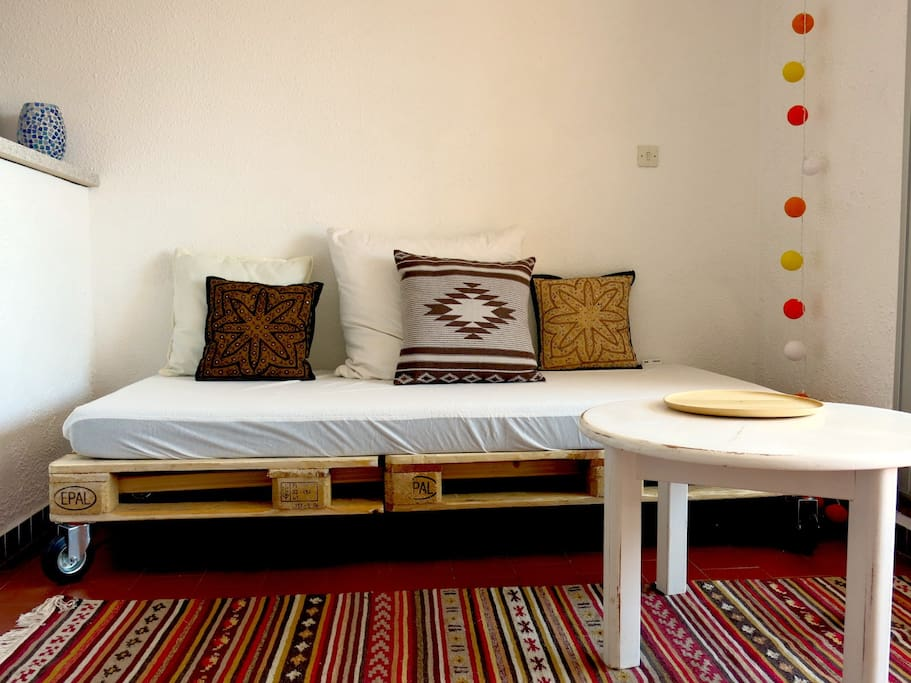 the two sofas can be converted to a double-bed