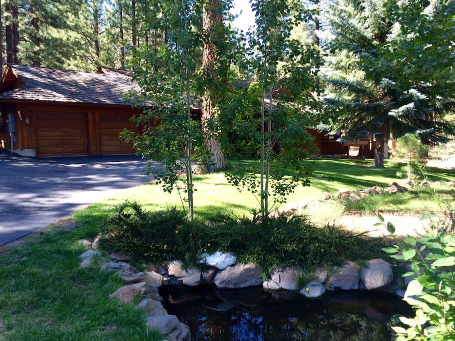The long driveway leads guests past a small pond and the lush green front yard with numerous pine and blue spruce towering high above in a beautiful and peaceful natural mountain setting