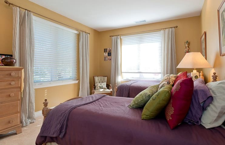 The two twin beds can be pushed together to make a king size upon request.