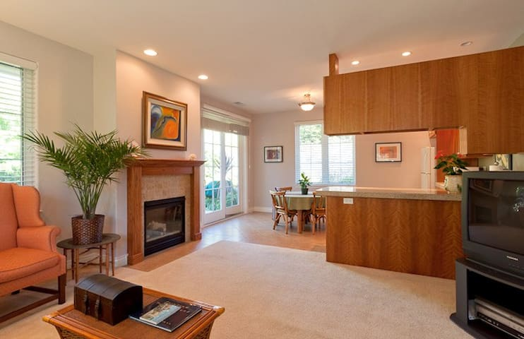 Elegant and specious living area to curl up for a movie with a fire or a book in.