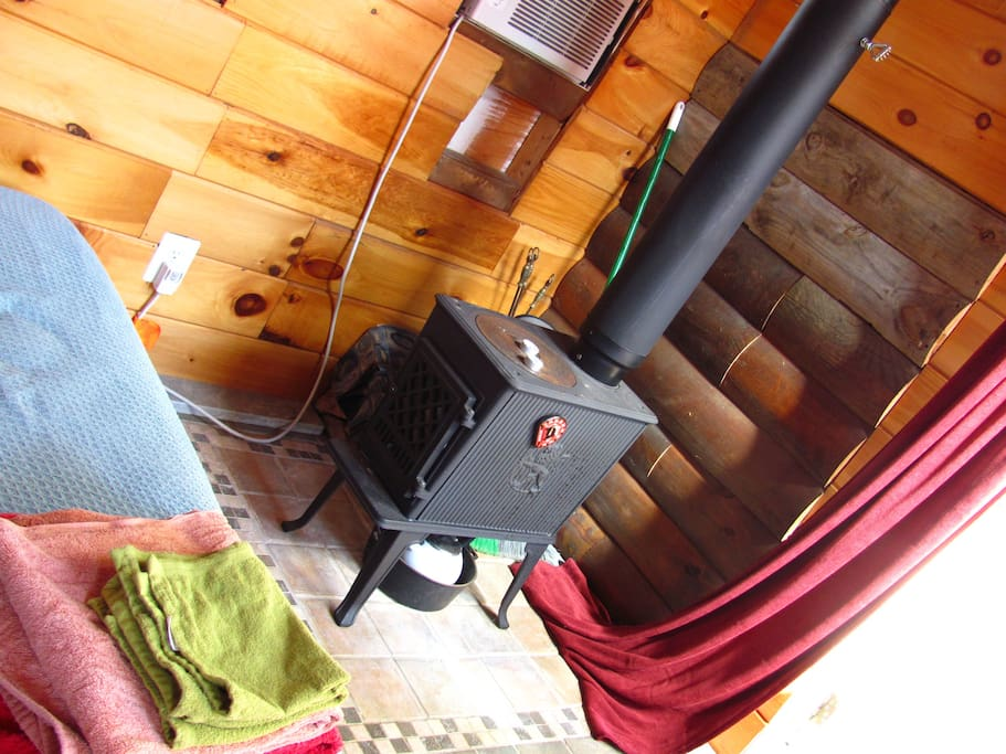 Woodstove (electric heater also available)