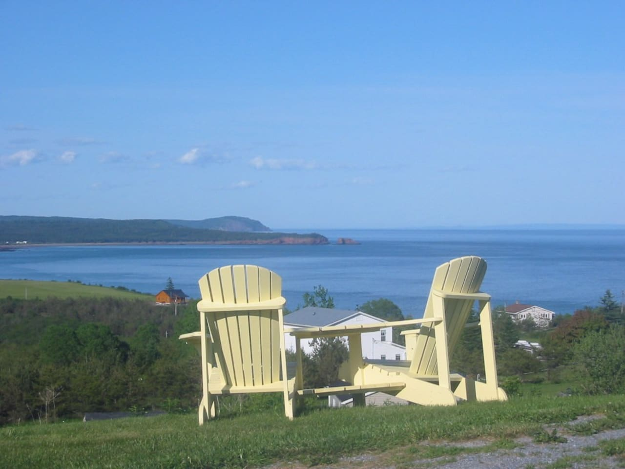 This is the view from my front lawn and the view from the window of this room. Over looking the beautiful Bay of Fundy tides. The highest tides in the world can be seen from these chairs.