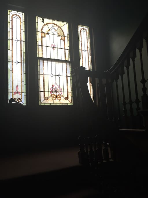 Stained Glass on Staircase