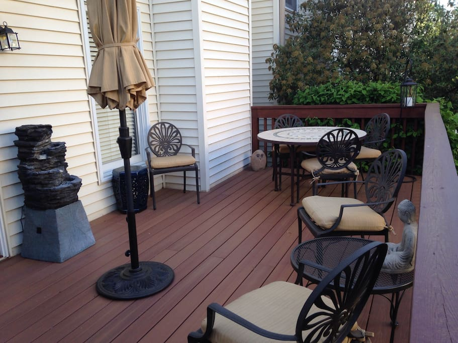 Recently upgraded deck which is shaded in the afternoon.