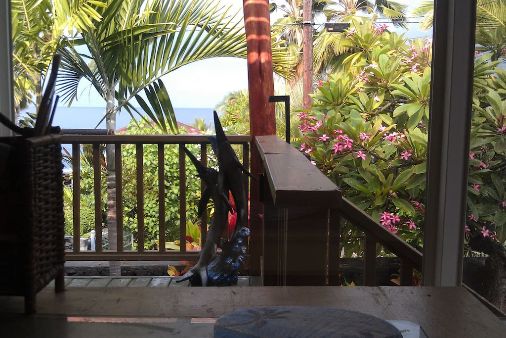 The front lanai  has views of the bay, a perfect place to watch the sunset.