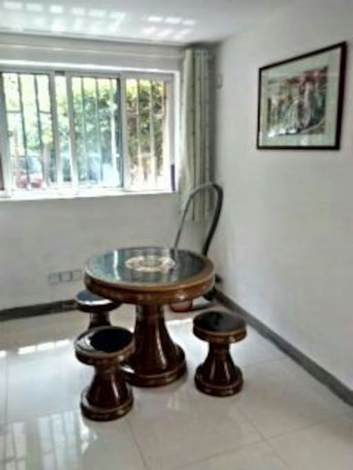traditional tea table where you can enjoy a cup of tea with the landlord!