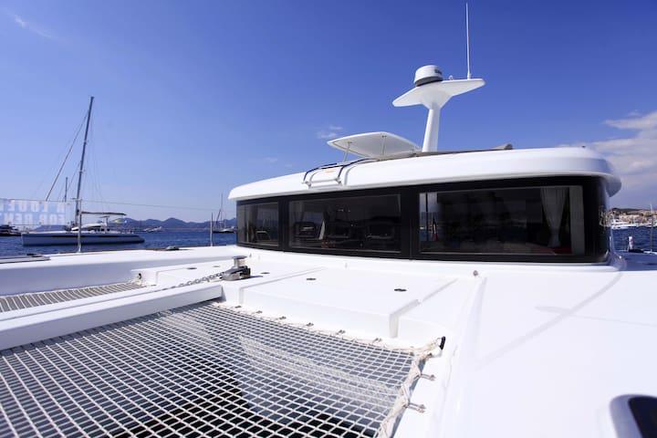 spacious motor catamaran