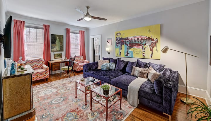 Colorful and cheery 1br/1ba for short- or long-term, in walkable Elizabeth