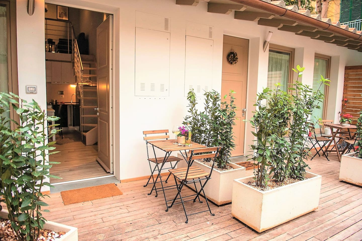Our private terrace on the shared courtyard
