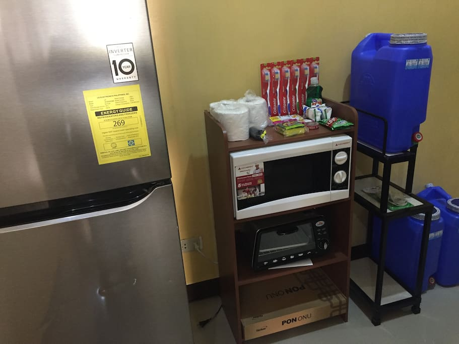 with ref , microwave oven ,toaster,mineral water, basic hygiene needs