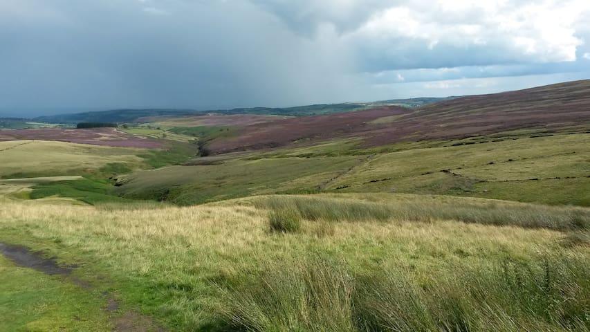 Bronte Way looking back towards Haworth & Oxenhope
